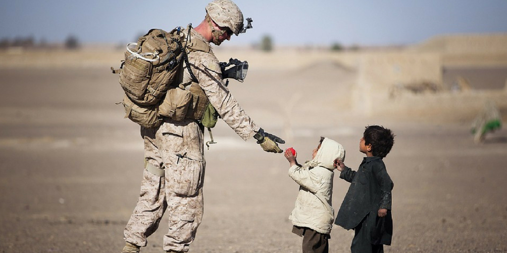 Soldier with kid- humanity
