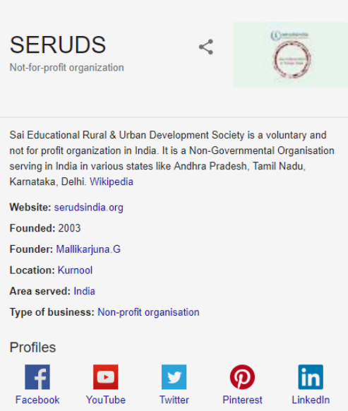 Seruds NGO India Now Have an Official Wikipedia Page