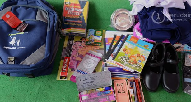 education material kit for poor girls, education material kits, orphans education material, education kits for orphans in kurnool, learning kits for orphanages, education material kit for orphanages, seruds india in kurnool, charity foundation in kurnool