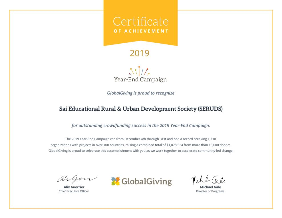 SERUDS NGO Certificate for Best Crowdfunding Success