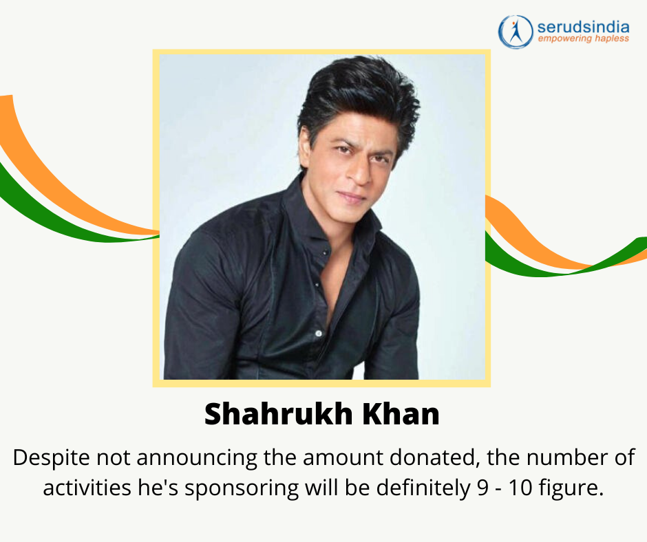Shahrukh Khan- Indian Celebrity Donations for Coronavirus Charity Relief Funds