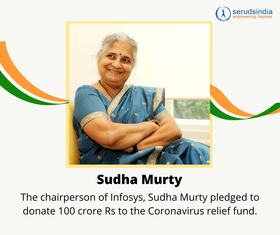 Sudha Murthy - Indian Celebrity Donations for Coronavirus Charity Relief Funds