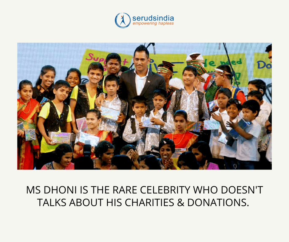 MS Dhoni is the rare celebrity who doesn't talks about his charities & donations.