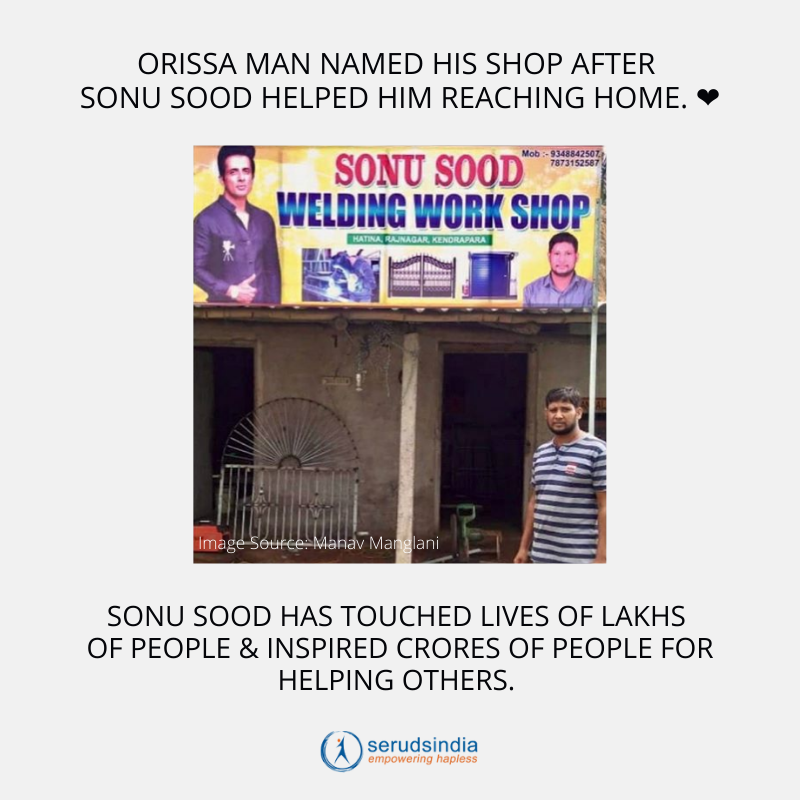 Orissa man named his shop after Sonu Sood helped him reaching home.