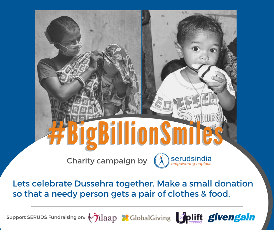 Lets celebrate Dussehra together. Make a small donation so that a needy person gets a pair of clothes & food.