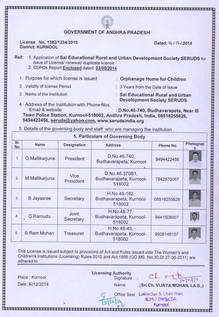License for SERUDS NGO in Kurnool by Government of AP