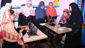 Muslim Women training for Tailoring machine